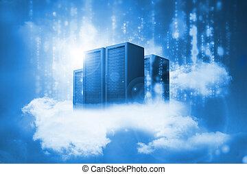 Datenserver liegen auf Wolken in Blau