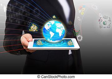 Datenstrom mit moderner, intelligenter Tablet-PC