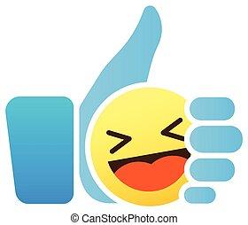 Daumen hoch Emoticon, wie Ikone mit Smiley Emoji.