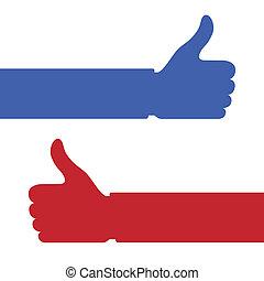 Daumen hoch mit den Handzeichen.