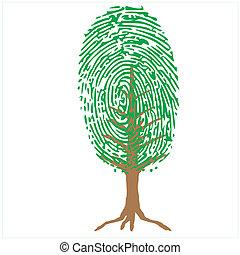 Daumenabdruck als grüner Baum