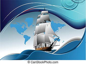 Decken Sie eine Broschüre mit altem Segelschiff.