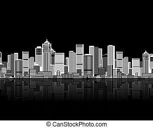 dein, kunst, hintergrund, seamless, cityscape, städtisches design