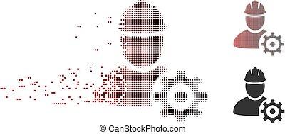 Deintegrieren von Pixel Halbton Service Man Icon