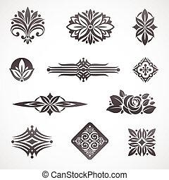 dekor, elemente, &, seite, vektor, design, buch