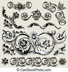 dekoration, blumen-, satz, elemente, klassisch