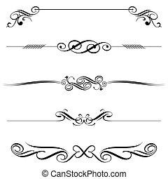 dekoration, horizontal, elemente