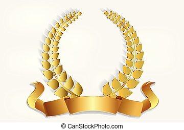 dekoration, kranz, logo, gold, lorbeer