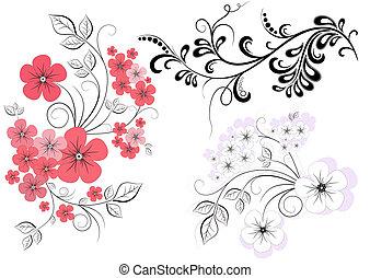 Dekorationszweige mit Blumen