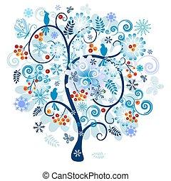 dekorativ, baum winter