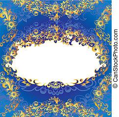 dekorativ, blaues, rahmen, blumen-