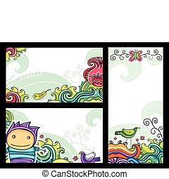 dekorativ, blumen-, banner, 1