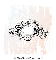 dekorativ, blumen-, kreis, verzierung