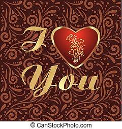 dekorativ, brauner, herz- muster, valentinestag, blank