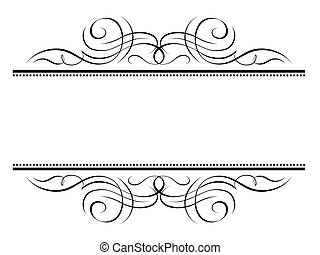 dekorativ, dekorativ, rahmen, vignette, kalligraphie, kalligraphie