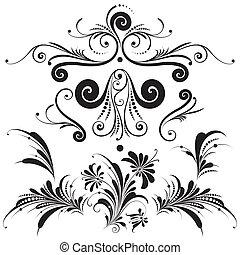 dekorativ, floral elemente, design
