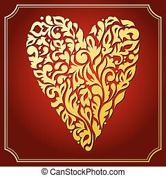 dekorativ, heart., spitze, gold, grüßen karte