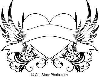 dekorativ, herz, emblem