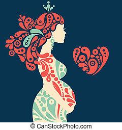 dekorativ, herz, frau, silhouette, schwanger, abstrakt, blumen, symbol