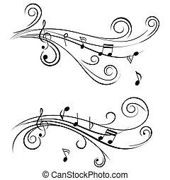 dekorativ, notizen, musik