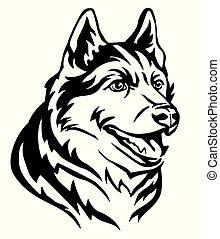 dekorativ, sibirisch, abbildung, hund, vektor, porträt, heiser