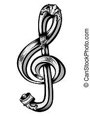 dekorativ, symbol, musik