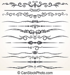 dekorativ, verschieden, linien, regieren, design