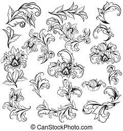 Dekorative Blumenmusterelemente