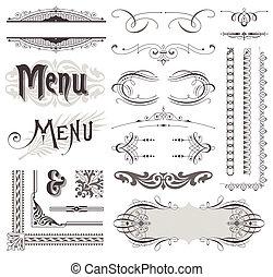 dekorative elemente, &, calligraphic, vektor, design, dekorationen, aufwendig, seite