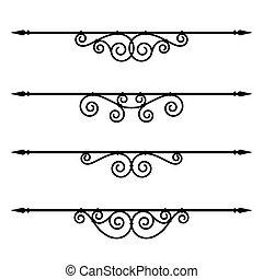 Dekorative Elemente, Grenz- und Seitenregeln.