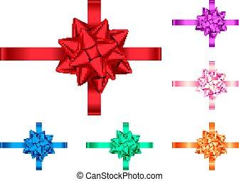 Dekorative Geschenkbänder und Bogensammlung.