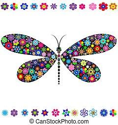 Dekorative Libelle mit verschiedenen bunten Blumen geschmückt