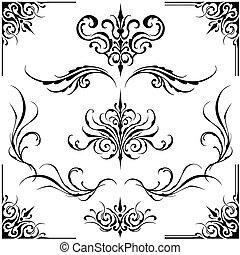 Dekorative Rahmen und Ornamente.