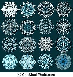 Dekorative Schneeflockenvektor-Set.