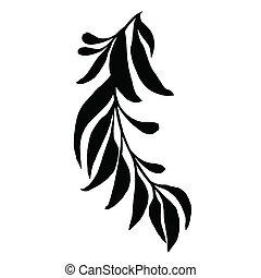 Dekorative Silhouette mit Blättern.