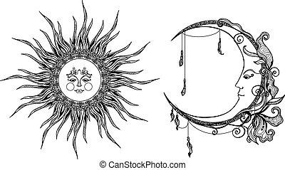Dekorative Sonne und Mond.