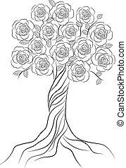 Dekorativer Baum mit Blumen, isoliert auf weißem Hintergrund.