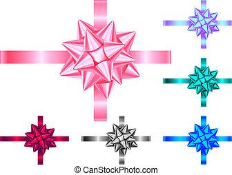 Dekoratives Geschenkband und Bogen isoliert auf weißem Hintergrund.