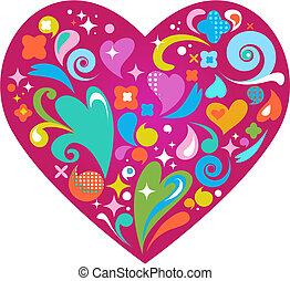 Dekoratives Vektorherz für den Valentinstag