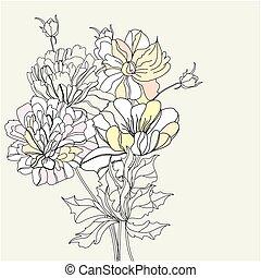 Dekorischer Hintergrund mit Blumen