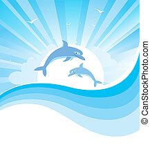Delfine in blauer See, Vektor Natur, Meereswand mit abstrakten Wellen