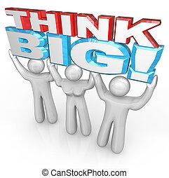 Denk an ein großes Team von Menschen, die Worte für den Erfolg zusammen heben
