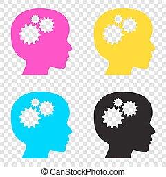 Denke Kopfzeichen. CMYK Icons auf transparentem Hintergrund. Cyan,