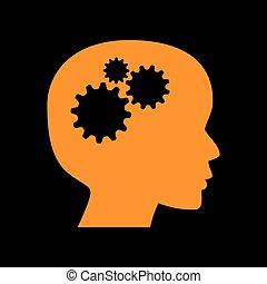 Denke Kopfzeichen. Orange Icon auf schwarzem Hintergrund. Ein alter Phosphormonitor. CRT.