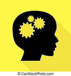 Denke Kopfzeichen. Schwarzes Icon mit flachem Schattenpfad auf gelbem Hintergrund.