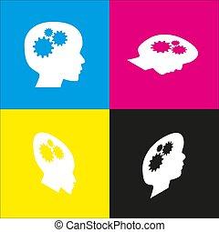 Denke Kopfzeichen. Vector. Weiße Ikone mit isometrischen Projektionen auf Zyan, Magenta, gelbe und schwarze Hintergründe.