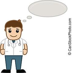 denken, medizin, -, karikatur, doktor