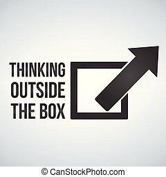 Denken Sie außerhalb des Boxkonzepts mit Rahmen und Pfeil. Vector Illustration isoliert auf weißem Hintergrund.