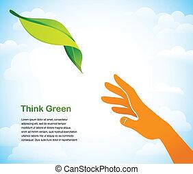 Denken Sie grün - Hintergrund mit zwei Händen.