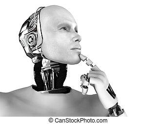 denken, something., über, mann, roboter